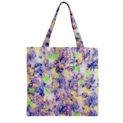 Softly Floral B Zipper Grocery Tote Bag
