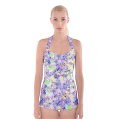 Softly Floral B Boyleg Halter Swimsuit
