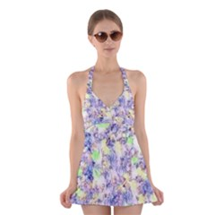 Softly Floral B Halter Swimsuit Dress