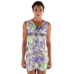 Softly Floral B Wrap Front Bodycon Dress