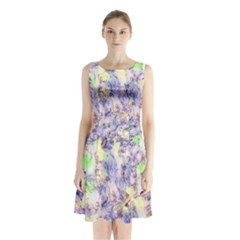 Softly Floral B Sleeveless Chiffon Waist Tie Dress