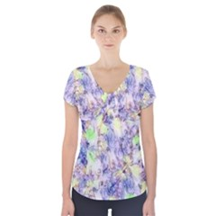 Softly Floral B Short Sleeve Front Detail Top