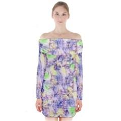 Softly Floral B Long Sleeve Off Shoulder Dress