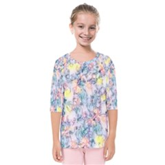 Softly Floral C Kids  Quarter Sleeve Raglan Tee
