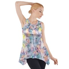 Softly Floral C Side Drop Tank Tunic