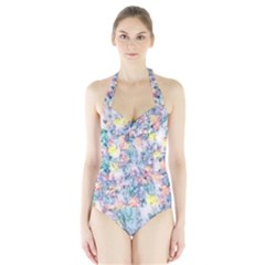Softly Floral C Halter Swimsuit