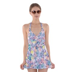 Softly Floral C Halter Swimsuit Dress