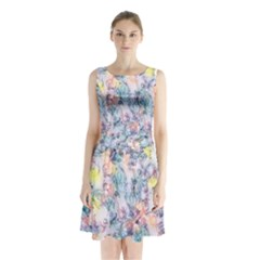 Softly Floral C Sleeveless Chiffon Waist Tie Dress