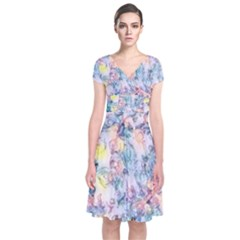 Softly Floral C Short Sleeve Front Wrap Dress
