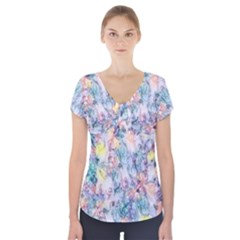 Softly Floral C Short Sleeve Front Detail Top