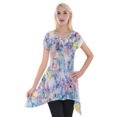 Softly Floral C Short Sleeve Side Drop Tunic