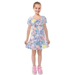 Softly Floral C Kids  Short Sleeve Velvet Dress