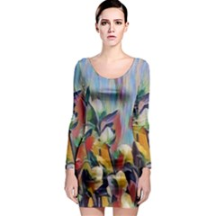 Abstractionism Spring Flowers Long Sleeve Bodycon Dress