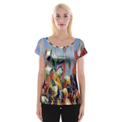 Abstractionism Spring Flowers Women s Cap Sleeve Top