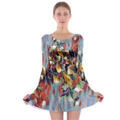 Abstractionism Spring Flowers Long Sleeve Skater Dress