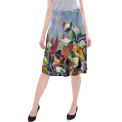 Abstractionism Spring Flowers Midi Beach Skirt