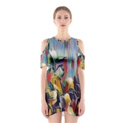 Abstractionism Spring Flowers Shoulder Cutout One Piece