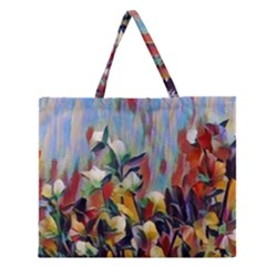 Abstractionism Spring Flowers Zipper Large Tote Bag