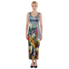 Abstractionism Spring Flowers Fitted Maxi Dress