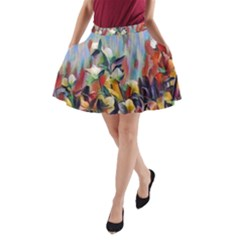 Abstractionism Spring Flowers A-Line Pocket Skirt