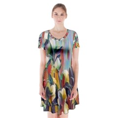 Abstractionism Spring Flowers Short Sleeve V-neck Flare Dress