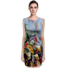 Abstractionism Spring Flowers Classic Sleeveless Midi Dress