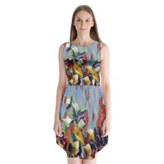 Abstractionism Spring Flowers Sleeveless Chiffon Dress