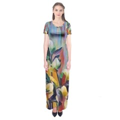 Abstractionism Spring Flowers Short Sleeve Maxi Dress