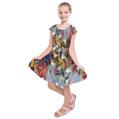 Abstractionism Spring Flowers Kids  Short Sleeve Dress