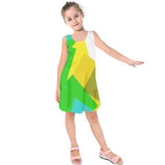 Green yellow shapes       Kid s Sleeveless Dress
