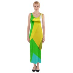 Green yellow shapes        Fitted Maxi Dress