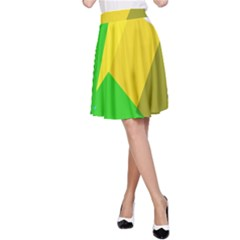 Green yellow shapes        A-line Skirt
