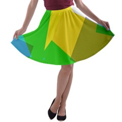 Green yellow shapes        A-line Skater Skirt