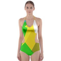 Green yellow shapes        Cut-Out One Piece Swimsuit