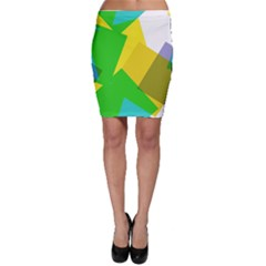 Green yellow shapes        Bodycon Skirt