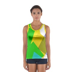 Green yellow shapes        Women s Sport Tank Top