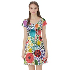 Floral Bee & Ladybug Short Sleeve Skater Dress