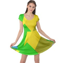 Green yellow shapes       Cap Sleeve Dress