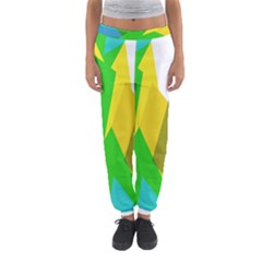 Green yellow shapes        Women s Jogger Sweatpants