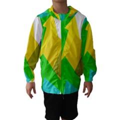 Green yellow shapes        Hooded Wind Breaker (Kids)