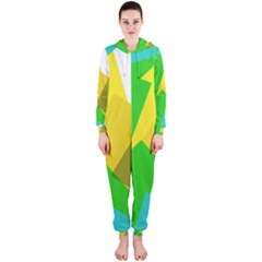 Green yellow shapes        Hooded Jumpsuit (Ladies)