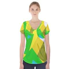 Green yellow shapes           Short Sleeve Front Detail Top