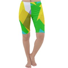 Green yellow shapes        Cropped Leggings