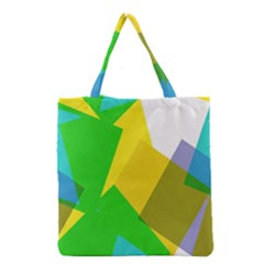 Green yellow shapes        Grocery Tote Bag