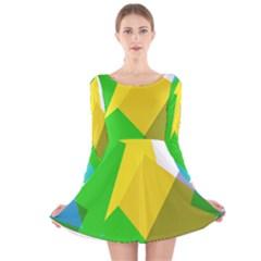 Green yellow shapes        Long Sleeve Velvet Skater Dress