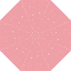 Pink background with white hearts on lines Folding Umbrellas