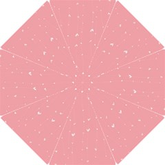 Pink background with white hearts on lines Hook Handle Umbrellas (Small)