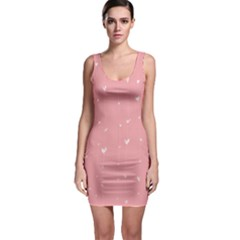 Pink background with white hearts on lines Sleeveless Bodycon Dress