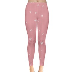 Pink background with white hearts on lines Leggings
