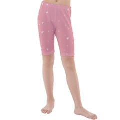 Pink background with white hearts on lines Kids  Mid Length Swim Shorts
